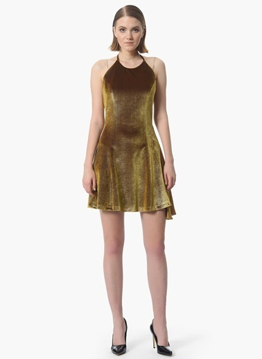 NetWork Askılı Mini Kadife Elbise Altın